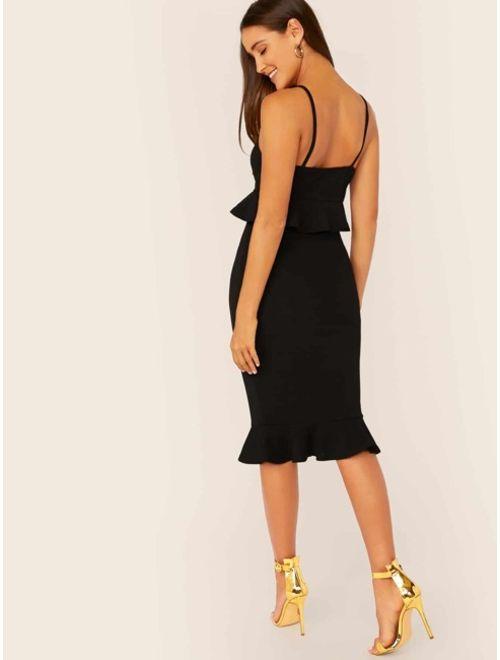 Shein Ruffle Hem Bustier Peplum Cami Dress