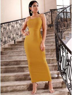 Adyce Rib-knit Bodice Slit Hem Bodycon Cami Dress