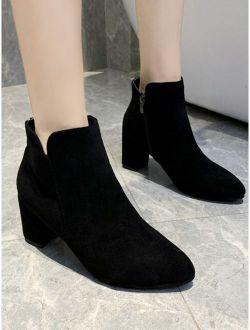 Black Suede Side Zip Chunky High Heel Boots
