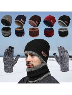 IPOW Winter Beanie Hat Scarf Set Warm Knit Hat Thick Knit Skull Cap for Men Women (BLACK)