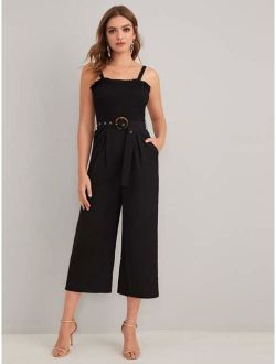 Shirred Bodice Frill Trim Belted Cami Jumpsuit