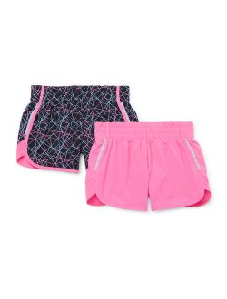 Girls 4-18 & Plus Printed & Solid Active Running Shorts, 2-pack