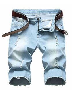 Enrica Men's Ripped Distressed Slim Fit Holes Denim Shorts, Z-light Blue, 32