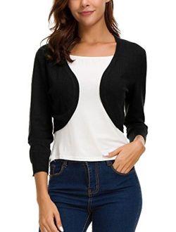 Women's Trendy Bolero Shrug Open Front Cropped Cardigan 3/4 Sleeves Short Coat/Sweater