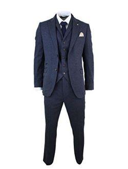 CAVANI Mens Brown Herringbone Tweed Wool Mix Black 3 Piece Vintage Retro Suit Slim Fit Brown 36
