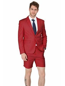 MAGE MALE Mens Summer Suit 2 Piece Suit Cause Blazer and Breathable Shorts