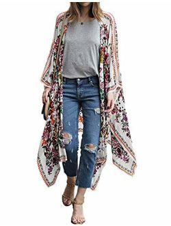 TRALOOK Womens Swimsuit Beach Cover ups Chiffon Kimono Loose Sheer Cardigan Lightweight Flowy Cover Ups