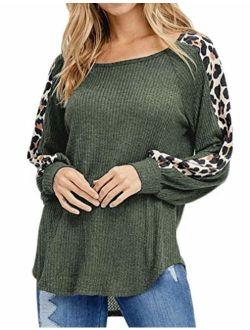 Naggoo Women's Fall Waffle Knit Tops Leopard Print Tunic Casual Raglan Long Sleeve Sweater Shirts Pullover