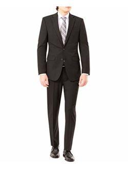 Men's Modern Slim Fit Flex Stretch Suit, Black, 46 Long