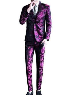 MOGU Mens Three Piece Skinny Printed Tuxedo Wedding Party Suits