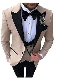 Aesido Men's Casual Suits Slim Fit 3 Piece Notch Lapel Prom Tuxedos Groomsmen For Wedding (Blazer+Vest+Pants)