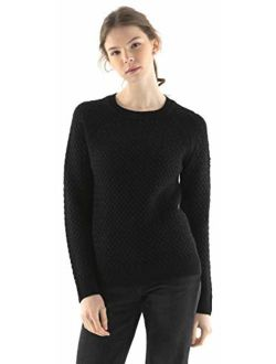 Fancy Stitch Women's Crewneck Cable Knitted Sweater