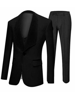 Botong Men's Shawl Lapel Wedding Suits 3 Pieces Groom Tuxedos Jacket Vest Pants Prom Suits
