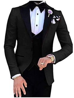 Botong Men's 3 Pc Red Notch Lapel Wedding Suits Slim Fit Groom Tuxedos