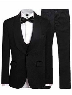 LILIS Men's Fashion One Button Jacquard Weave Mens Slim Fit Tuxedos Suits 3 Piece Sets
