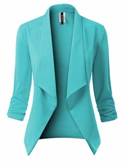MixMatchy Women's Classic 3/4 Gathered Sleeve Open Front Solid Blazer Jacket [Made in USA](S-3XL)