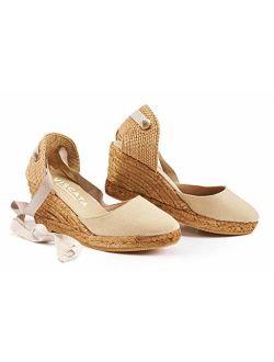 "VISCATA Handmade in Spain Sagaro 2.5"" Wedge, Soft Ankle-Tie, Closed Toe, Classic Espadrilles Heel"