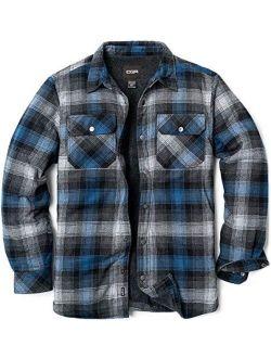 Men's Long Sleeved Sherpa Lined Brushed Flannel Rugged Plaid Shirt Jacket