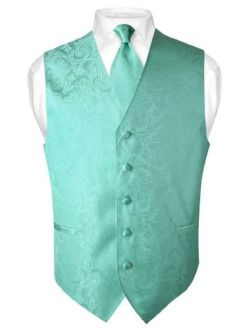 Men's Paisley Design Dress Vest & Necktie Aqua Green Color Neck Tie Set