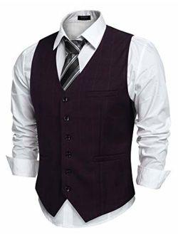 Men's Slim Fit Herringbone Tweed Button Suit Vest Plaid Wool Dress Waistcoat