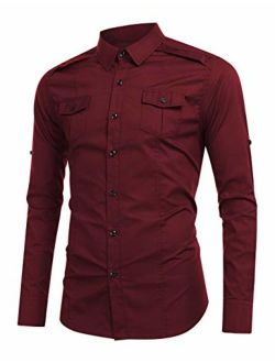 WESTECHO Men's Military Cargo Work Shirt Slim-Fit Long-Sleeve Solid Tactical Dress Shirt