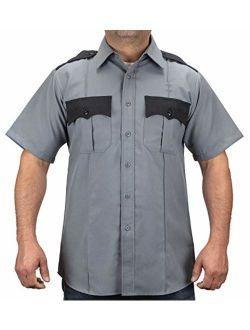 First Class 100% Polyester Two Tone Short Sleeve Men's Uniform Shirt