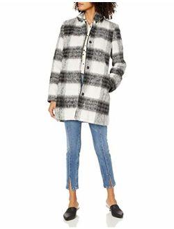 kensie Women's Mohair Wool Stand Collar Blanket Plaid Coat