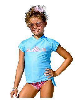 Girls Coral Pink Blue Gypsy Print Rash Guard Bikini Set