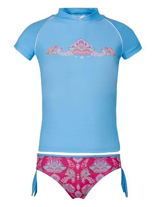 Sun Emporium Girls Coral Pink Blue Gypsy Print Rash Guard Bikini Set