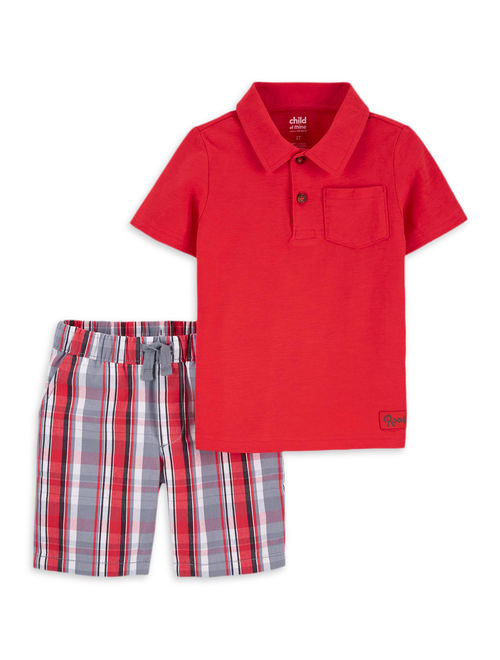 Child of Mine by Carter's Baby Toddler Boy Short Sleeve Polo Shirt and Printed Short, 2 pc Outfit Set