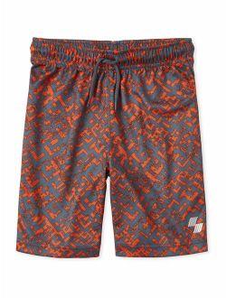 Boys 4-16 Distressed Maze Printed Mesh Shorts