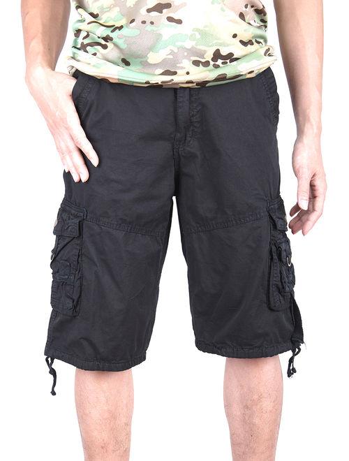 LELINTA 2019 Fashion Indoor Cargo Shorts Straight Leg Multi Size Plus Pocket Urban Combat Grey Khaki
