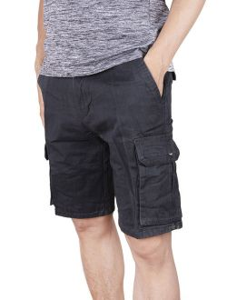 Men's Shorts Classic Twill Cotton Fit Perfect Cargo Short - Big And Tall Sizes Grey