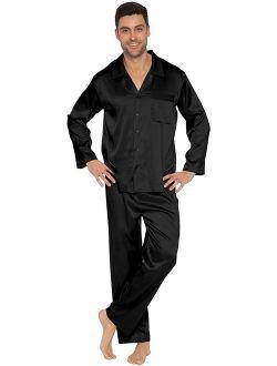 Intimo Men's Classic Stretch Silk Pajamas, Black, M