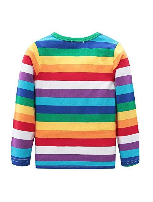 Boys Cotton Long Sleeve T-Shirts Rainbow Striped Shirts