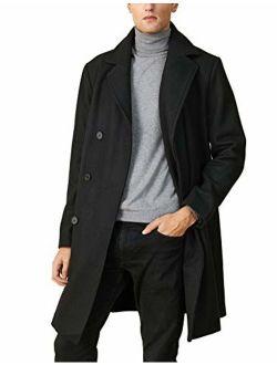 Escalier Men's Wool Trench Coat Winter Long Jacket Single Breasted Slim Fit Warm Overcoat Business