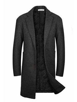 VICALLED Men's Single Breasted Winter Woolen Coat Long Outdoor Warm Jacket