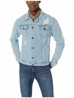 Brooklyn Surf Men's Distressed Denim Jean Classic Trucker Jacket