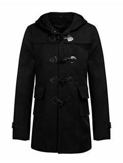 Mens Woollen Duffle Coat Vintage Toggle Winter Hoodie Overcoat Jacket