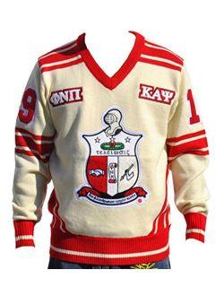 Kappa Alpha Psi Fraternity Men's Wool V-Neck Sweater Cream Color