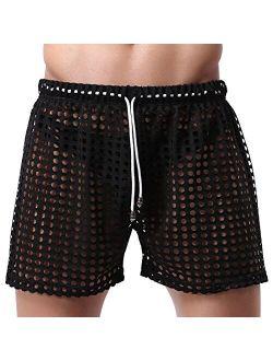 TiaoBug Mens Hollow Openwork Drawstring Lounge Underwear Boxer Shorts