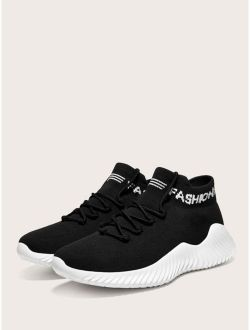 Men Knit Lace-up Front Letter Graphic Sneakers