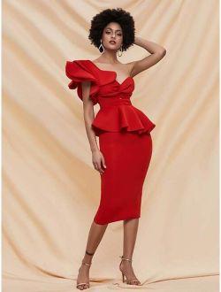Missord Twist Front Exaggerated Ruffle Peplum Bodycon Dress