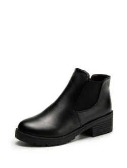 Faux Leather Ankle Boots