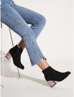 Glitter Detail Black Suede Side Zip Chunky High Heel Boots