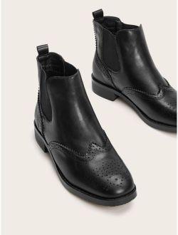 Wingtip Detail Chelsea Boots
