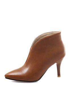 V Cut Stiletto Heeled Boots
