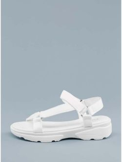 Footbed Sole Strappy Velcro Sandals