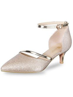 IDIFU Women's IN2 Maxine Wedding Low Kitten Heels Closed Toe Party Dress Pumps Shoes for Bridal Bride Women