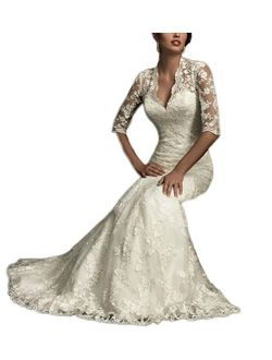 Ellenhouse Women's Lace Long Vintage Style Bridal Wedding Dress 8 Beige With Sleeves